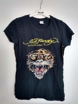 Ed Hardy T-Shirt. Schwarz Gr. L mit Löwenkopf