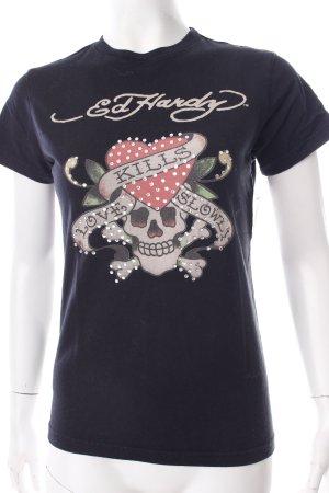 Ed Hardy T-Shirt schwarz Motivdruck Biker-Look