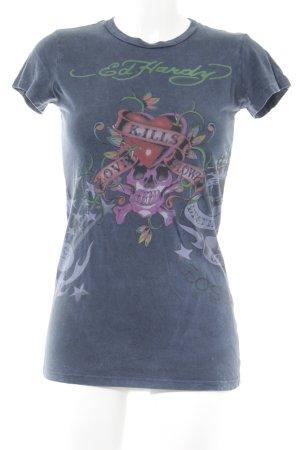 Ed Hardy T-Shirt stahlblau-grasgrün Motivdruck Casual-Look