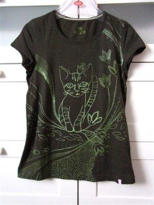 edc 16 Shirt mit Katzenprint Olive Grau Gr. S