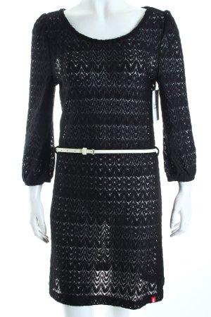 Edc A-Linien Kleid schwarz abstraktes Muster schlichter Stil
