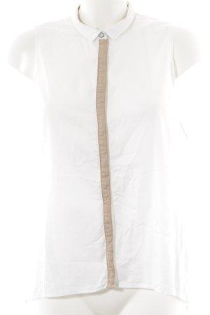 edc ärmellose Bluse weiß-beige Elegant