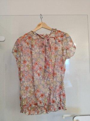 Edc Bluse mit Blumenmuster und Schleife