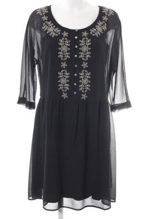 edc Blusenkleid schwarz-creme florales Muster Elegant