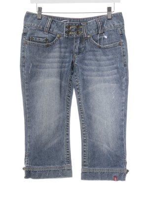 edc by Esprit 7/8 Jeans stahlblau-graublau Webmuster Casual-Look