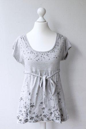 edc by Esprit Babydoll T-Shirt mit Blumen-Print, grau