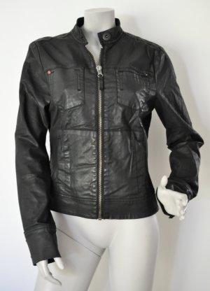 edc by Esprit Biker-Jacke beschichtet Baumwolle mit Stretch grauschwarz Gr. M FAST WIE NEU