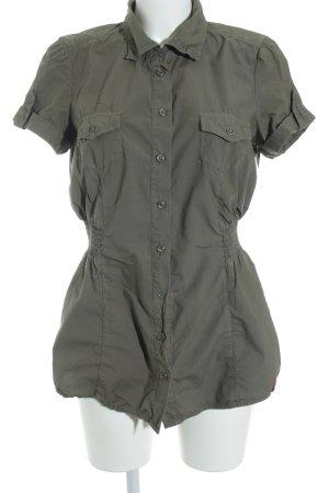 edc by Esprit Kurzarm-Bluse khaki-olivgrün sportlicher Stil