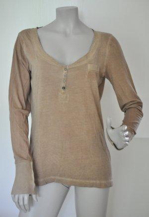 edc by Esprit Langarm-Shirt Longsleeve Baumwolle beige / braun Gr. L