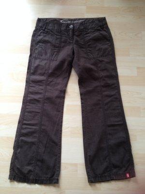 Esprit pantalón de cintura baja marrón-negro
