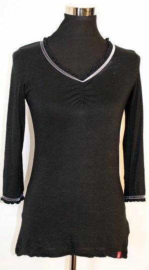 EDC by Esprit Longsleeve Baumwolle mit Rüschenrand & Samtstreifen, schwarz, S wie 36
