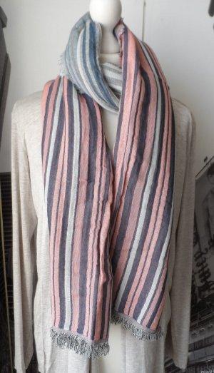EDC by ESPRIT Schal mit Streifen und offenen Kanten Dunkelblau rosa grau