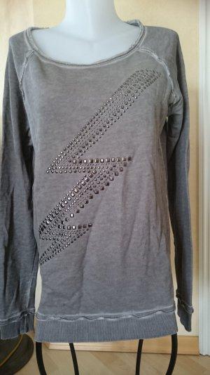 Edc by Esprit Sweatshirt Gr M Pullover used optik Grau mit Nieten