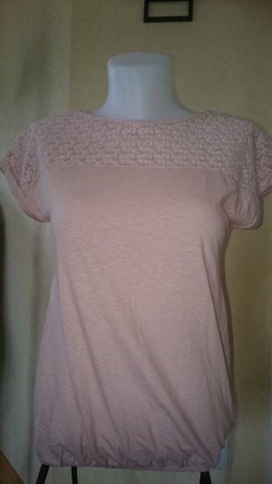Edc by Esprit T-shirt mit Spitze Gr Xs rosa
