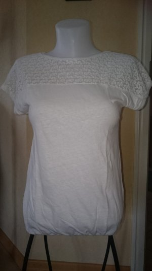 EDC by Esprit T-Shirt mit Spitze Gr XS weiß