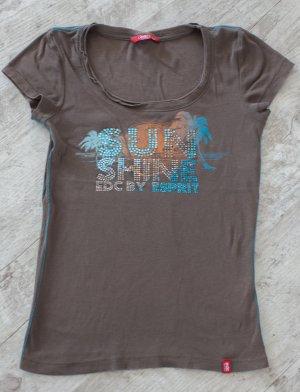 edc by Esprit T-shirt kaki-turquoise coton