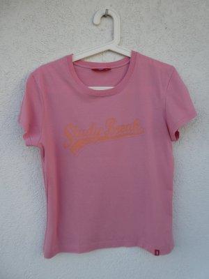 edc by Esprit – T-Shirt, rosa mit orangem Aufdruck – Gebraucht, fast wie neu