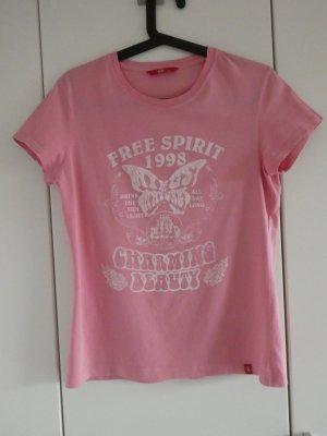 edc by Esprit – T-Shirt, rosa mit weißem Aufdruck – Gebraucht, fast wie neu