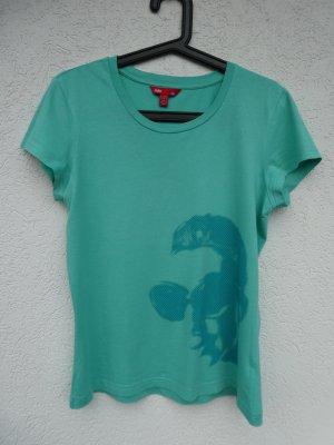 edc by Esprit – T-Shirt, türkis mit Aufdruck – Gebraucht, fast wie neu