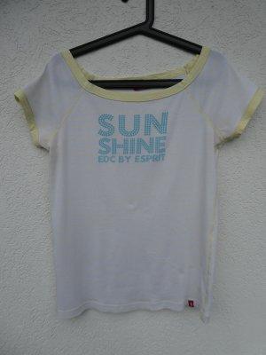 edc by Esprit – T-Shirt, weiß-hellgelb gestreift mit hellblauem Aufdruck