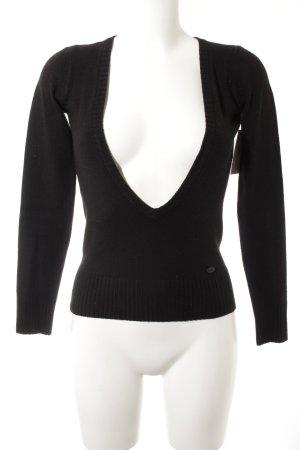 edc by Esprit V-Ausschnitt-Pullover schwarz Casual-Look