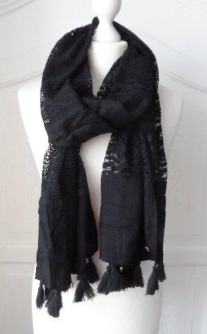 EDC by Esprit Viscose Schal aus Spitze Schwarz 1 x getragen