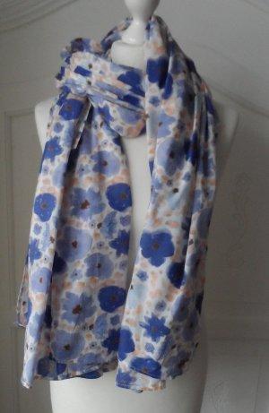 EDC by ESPRIT XXL Schal mit Blumen Muster Blau Weiß wenig getragen