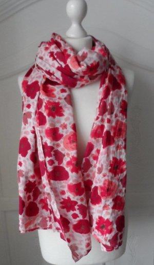 EDC by ESPRIT XXL Schal mit Blumen Muster Rot Weiß wenig getragen