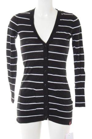 edc Cardigan schwarz-weiß Streifenmuster Casual-Look