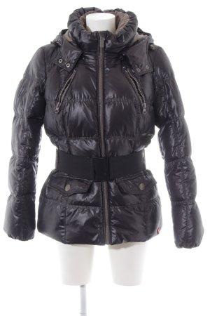 edc Donsjack zwart quilten patroon straat-mode uitstraling