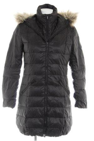 edc Manteau en duvet noir motif de courtepointe style décontracté