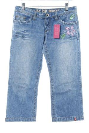 Edc Esprit 3/4-Hose himmelblau Motivdruck Jeans-Optik