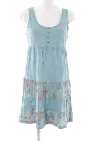 Edc Esprit A-Linien Kleid türkis-blassblau Blumenmuster schlichter Stil