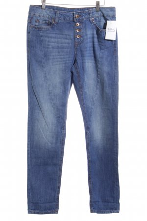 Edc Esprit Boyfriendjeans blau-wollweiß Washed-Optik