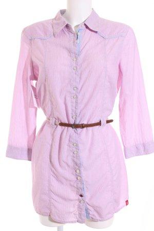 Edc Esprit Hemd-Bluse rosa-himmelblau Streifenmuster Casual-Look