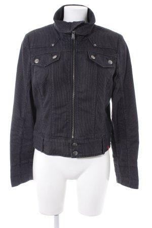 Edc Esprit Jeansjacke schwarz-anthrazit Streifenmuster schlichter Stil