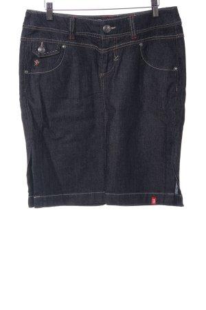 Edc Esprit Spijkerrok donkerblauw-wit gestippeld casual uitstraling