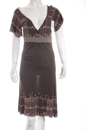 Edc Esprit Kleid graubraun-hellrot Blumenmuster klassischer Stil