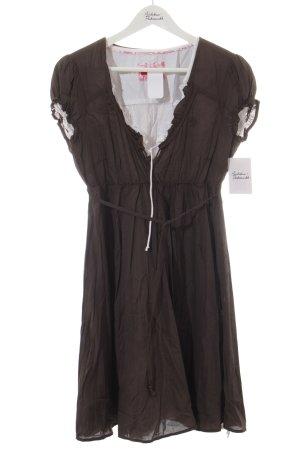 Edc Esprit Kleid weiß-dunkelbraun Casual-Look