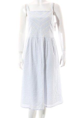 Edc Esprit Kleid weiß-himmelblau Streifenmuster Häkel-Detail