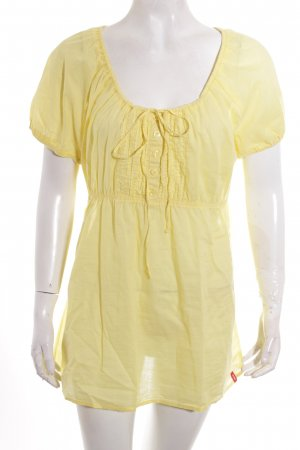 Edc Esprit Kurzarm-Bluse gelb Transparenz-Optik