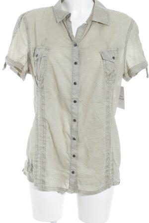 Edc Esprit Kurzarm-Bluse graugrün-beige schlichter Stil
