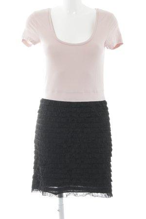 Edc Esprit Kurzarmkleid schwarz-rosé Elegant