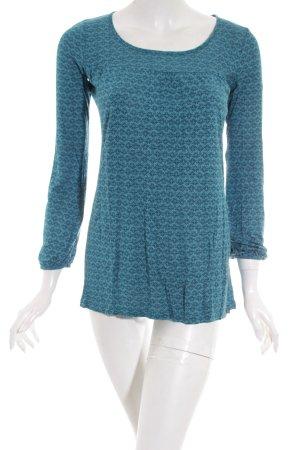 Edc Esprit Langarm-Bluse petrol-kadettblau florales Muster Casual-Look