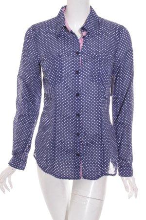 Edc Esprit Shirt met lange mouwen donkerblauw-wit gestippeld patroon
