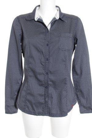 Edc Esprit Langarmhemd weiß-dunkelblau Punktemuster Casual-Look