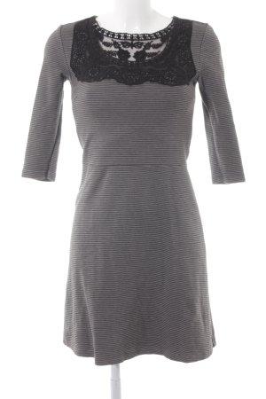 Edc Esprit Langarmkleid grau-schwarz Streifenmuster Elegant