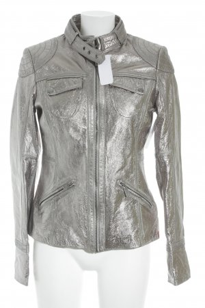 Edc Esprit Leather Jacket silver-colored casual look