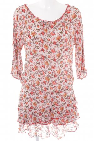 Edc Esprit Minikleid hellrosa-neonorange Blumenmuster Casual-Look