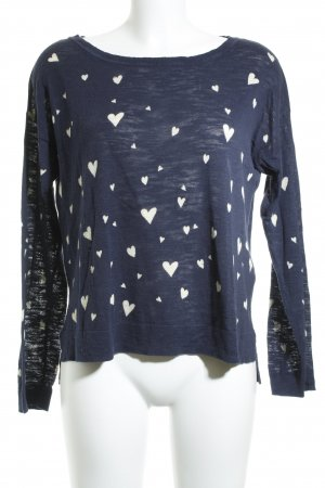 Edc Esprit Oversized Pullover dunkelblau-creme Herzmuster Casual-Look